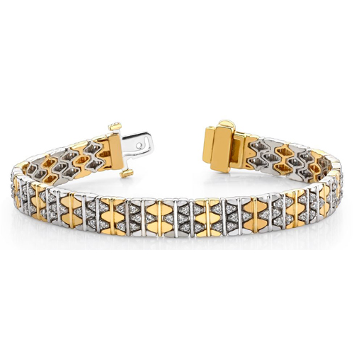 Bracelet Diamants - 2.00 Cts. Diamants - Or Jaune et Or Blanc 14