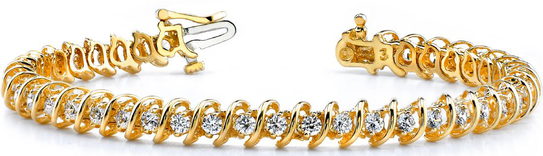 Bracelet Diamants avec 2.00 carat Diamants en or jaune 14K