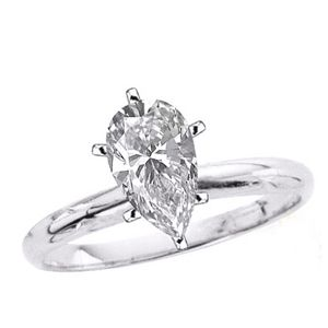 0.50 Quilates Diamante Anillo Solitarios 14k blanco D/SI1