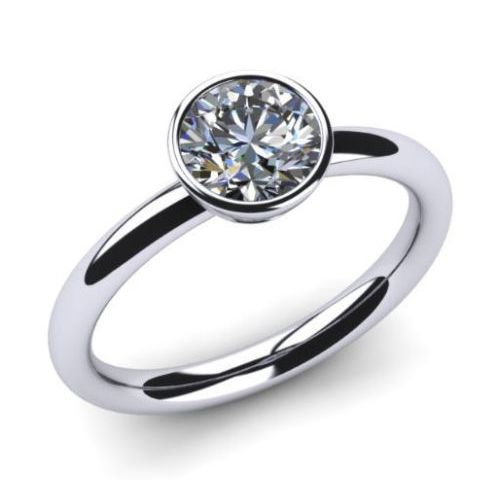 0.50 Ct. Diamante Anillo 14k oro blanco D/SI1 + certificado GIA