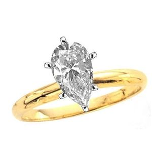 0.50 Ct. D/VS1 PEAR DIAMOND ENGAGEMENT RING 14K GOLD