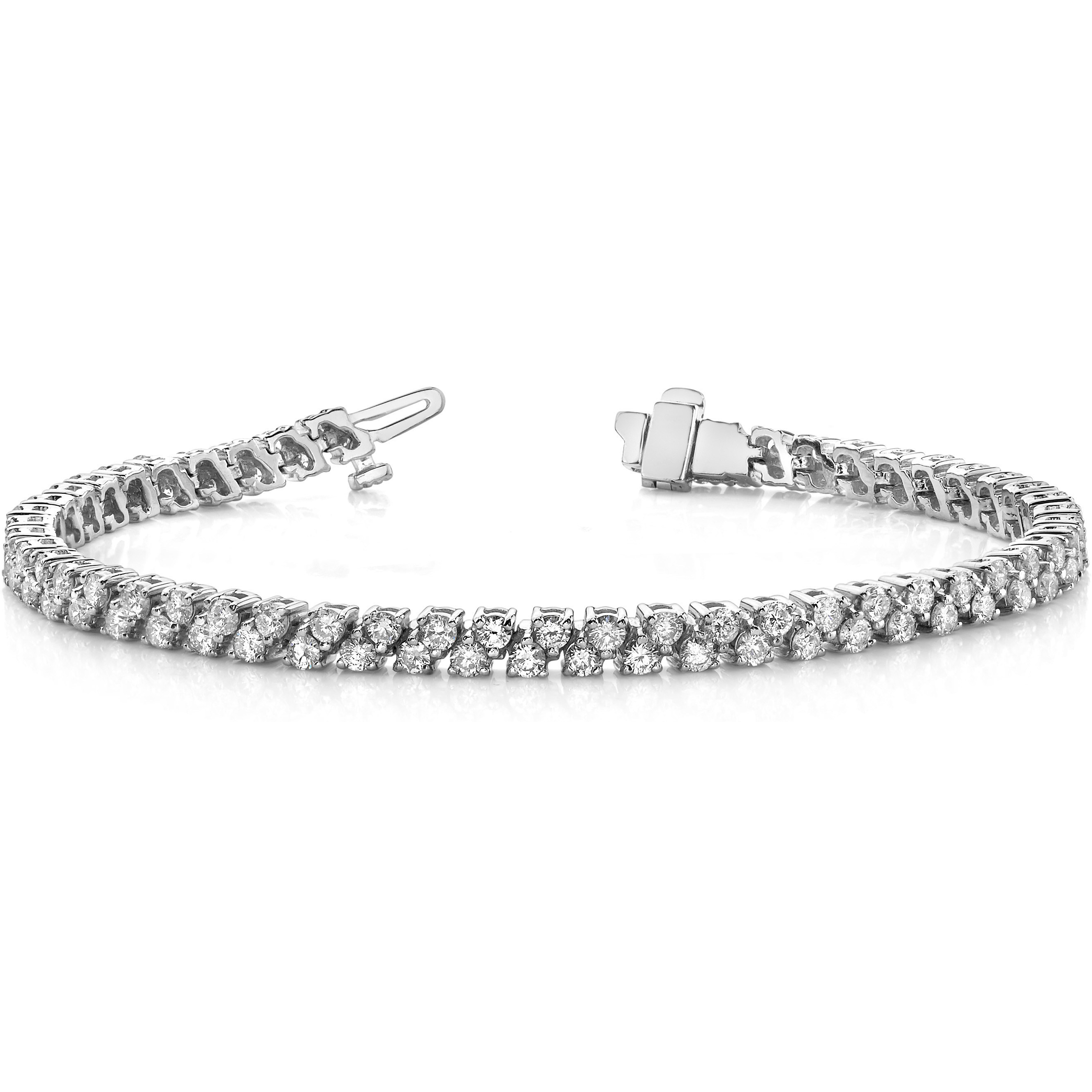 Bracelet Rivière Diamants - 3.00 Carat - Or Blanc 14 Carats
