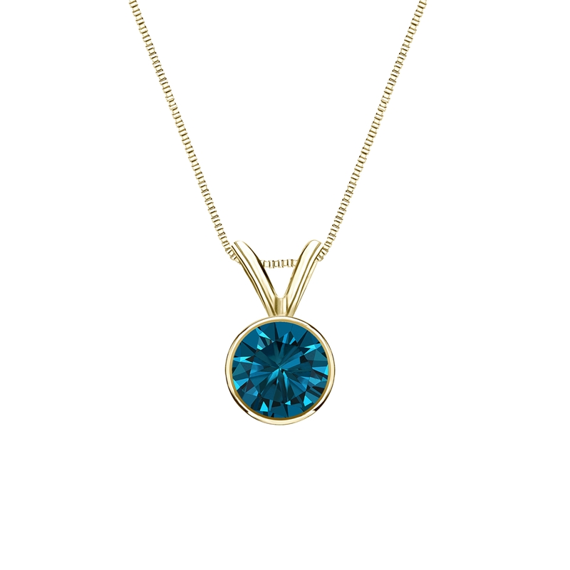 0.50 Carat blue Diamond 14K yellow gold Pendant