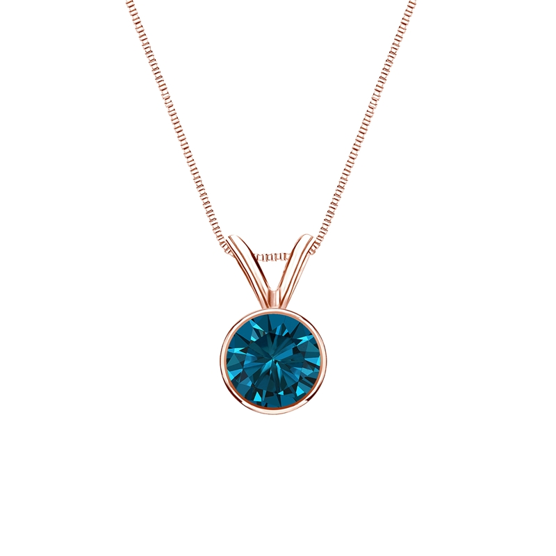 0.50 Carat blue Diamond 14K rose gold Pendant