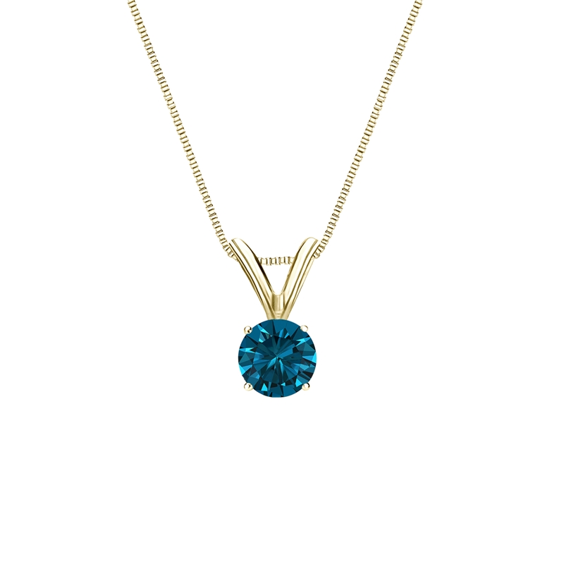 0.25 Carat blue Diamond 14K yellow gold Pendant