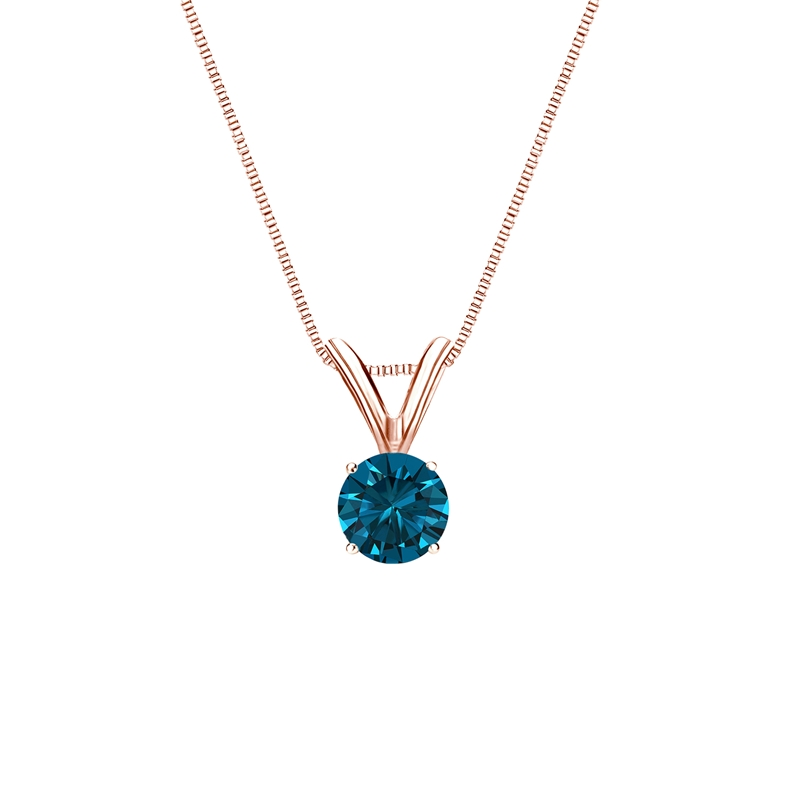 0.25 Carat blue Diamond 14K rose gold Pendant
