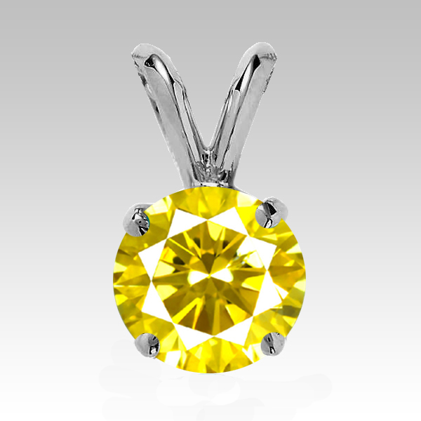 0.25 Carat yellow Diamond 14K white gold Pendant