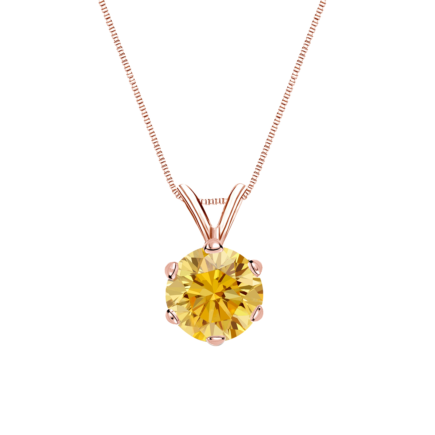 0.25 Carat jaune Solitaire Diamants Pendentif Or rose 14K