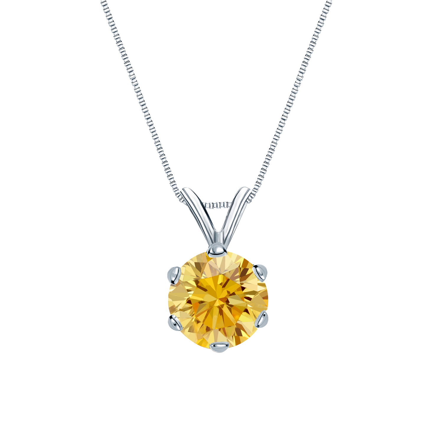 0.25 Carat jaune Solitaire Diamants Pendentif Or blanc 14K