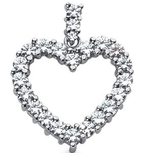 1.75 Carat Diamond Heart Pendant 14K white gold