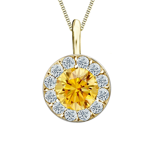 Diamond pendant 0.75 ct diamonds cognac and white, yellow gold
