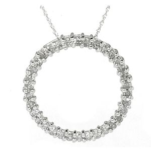 1.10 CTS. DIAMANTS CERCLE PENDENTIF OR BLANC
