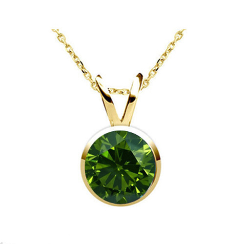 0.50 Carat green Diamond 14K yellow gold Pendant