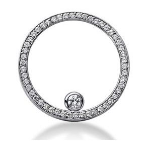 1.50 CTS. DIAMANTS CERCLE PENDENTIF OR BLANC + CHAINE