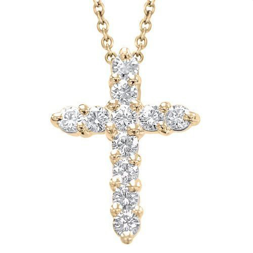 Diamond Cross Pendant in 14K rose gold with 1.00 Ct. diamonds