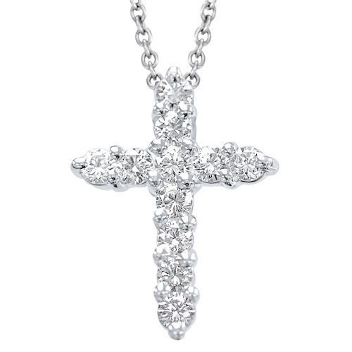 Diamond Cross Pendant in 14K white gold with 1.00 Ct. diamonds