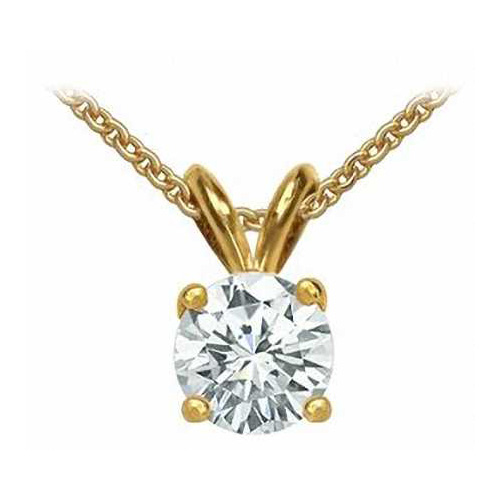 0.50 Carat white Diamond 14K yellow gold Pendant