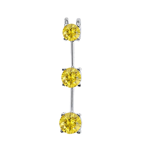 1.00 Carat Jaune I1 Diamants Pendentif Or Blanc 14K