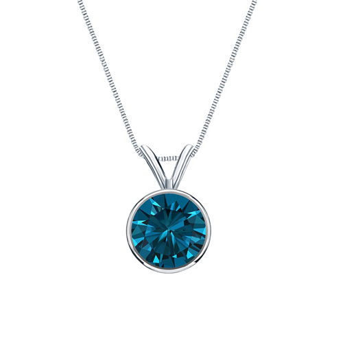 0.50 Carat blue Diamond 14K white gold Pendant