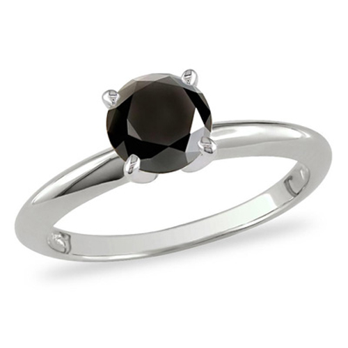 0.30 Quilates Diamante negro Anillo Solitarios 14k oro blanco