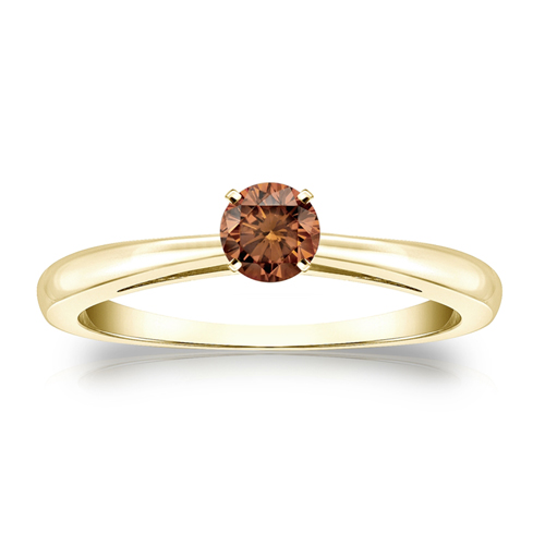 Diamant Ring Solitär 0.50 Karat Cognac Diamant in 585/14K Gelbgold