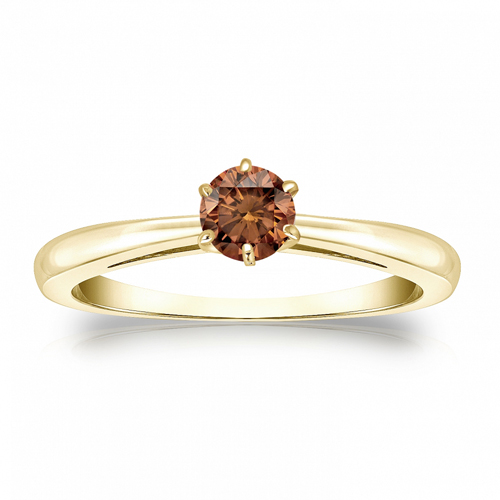 Diamant Ring Solitär 0.25 Karat Cognac Diamant in 585/14K Gelbgold