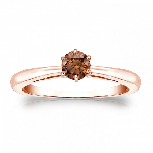 Diamant Ring Solitär 0.25 Karat Cognac Diamant in 585/14K Rosegold