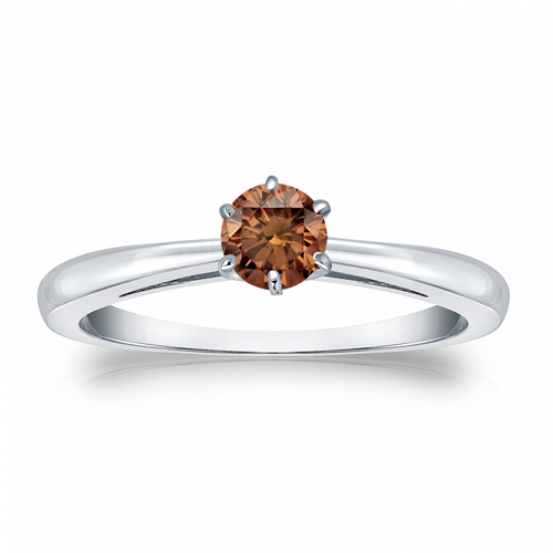 Diamant Ring Solitär 0.50 Karat Cognac Diamant in 585/14K Weißgold