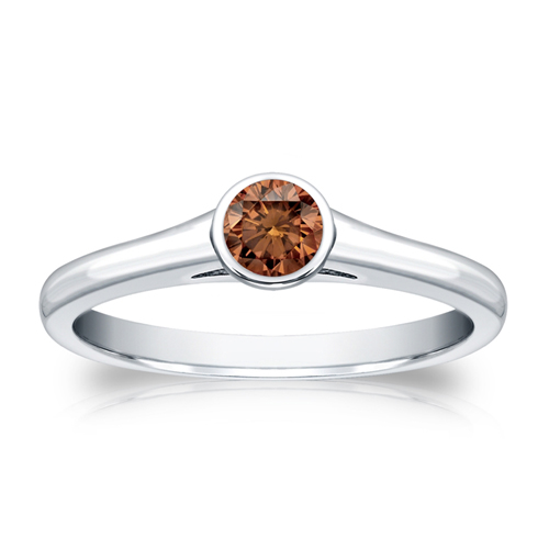 Diamant Ring Solitär 0.25 Karat Cognac Diamant in 585/14K Weißgold