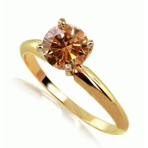 0.50 Quilates Diamante coñac Anillo Solitario 14k oro amarillo