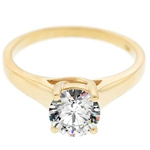 Diamantring Solit�r in 585er Gelbgold