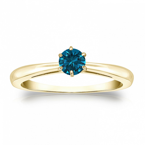 Diamant Ring Solitär 0.25 Karat blauer Diamant in 585/14K Gelbgold