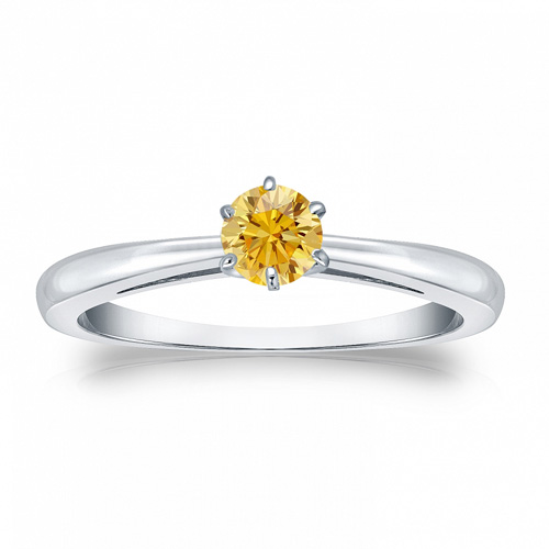 0.25 Quilates Diamante amarillo Anillo Solitarios 14k blanco