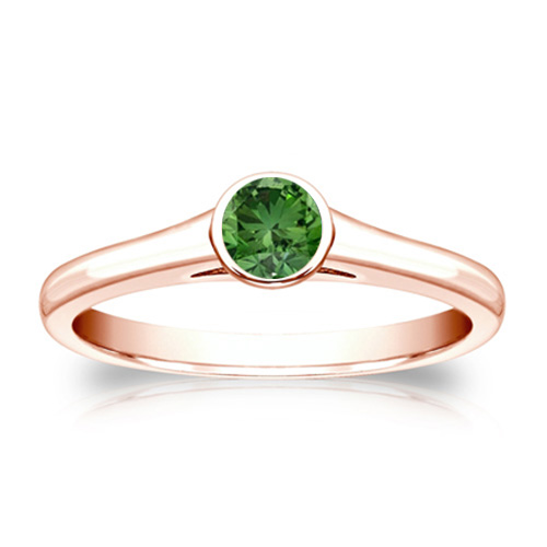 Solitaire 0.25 Ct. Vert Diamant Bague de Or rose 14K