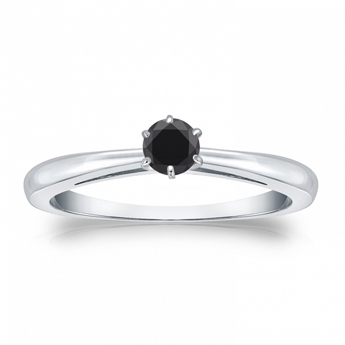 Solitaire 0.25 Ct. Noir Diamant Bague de Or blanc 14K