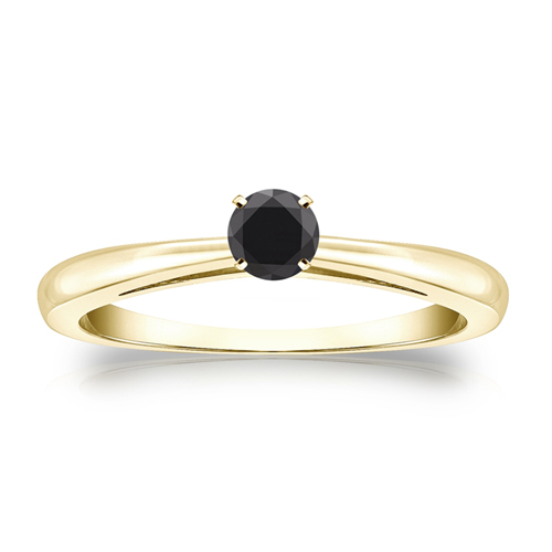 Solitaire 0.25 Ct. Noir Diamant Bague de Or jaune 14K