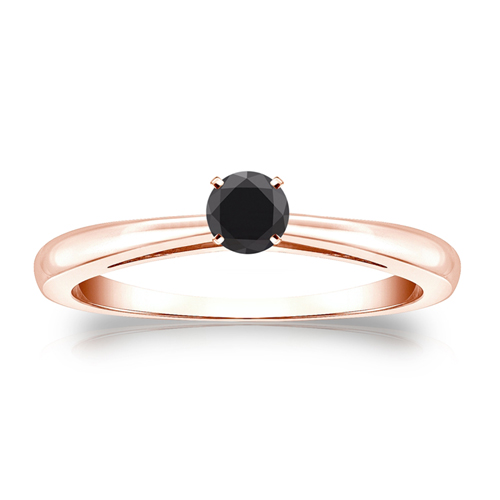 Solitaire 0.25 Ct. Noir Diamant Bague de Or rose 14K