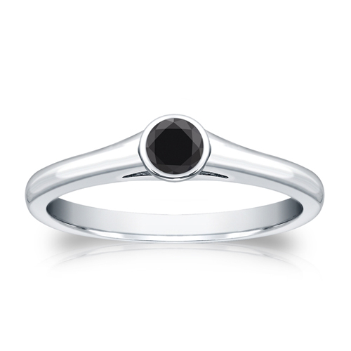 0.25 Quilates Diamante negro Anillo Solitarios 14k oro blanco