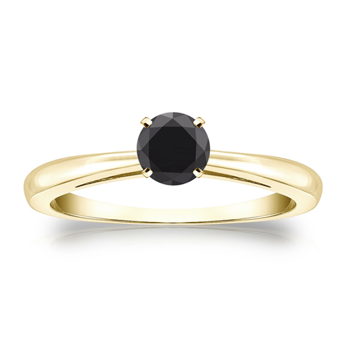Solitaire 0.50 Ct. Noir Diamant Bague de Or jaune 14K