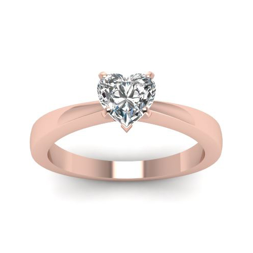 Solitaire 0.50 Ct. Coeur Diamant Bague de Or rose 14K D/SI1