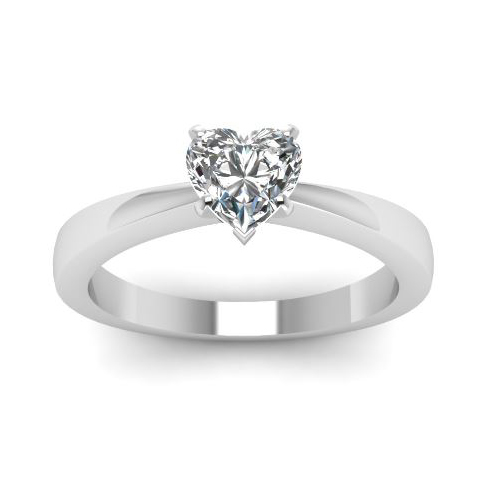 Solitaire 0.50 Ct. Coeur Diamant Bague de Or blanc 14K D/SI1