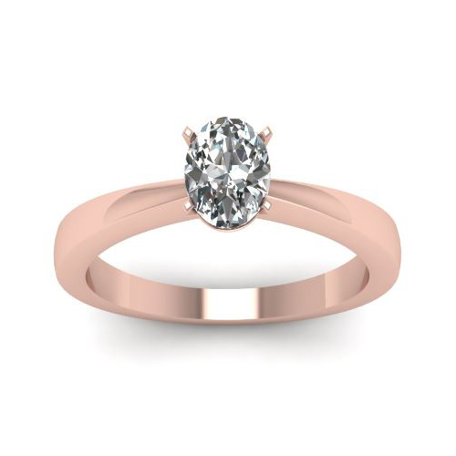 0.50 Ct. D/SI1 OVAL DIAMOND ENGAGEMENT RING 14K ROSE GOLD