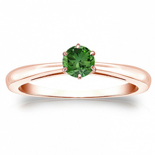 Solitaire 0.50 Ct. Vert Diamant Bague de Or rose 14K
