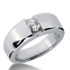 0.25 CT ROUND DIAMOND 14K WHITE GOLD MEN'S RING
