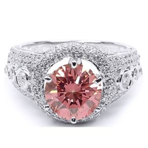 3.00 CT ROUND PINK DIAMOND 18K GOLD ENGAGEMENT RING