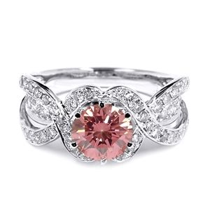 2.25 CT ROUND PINK DIAMOND 18K GOLD ENGAGEMENT RING