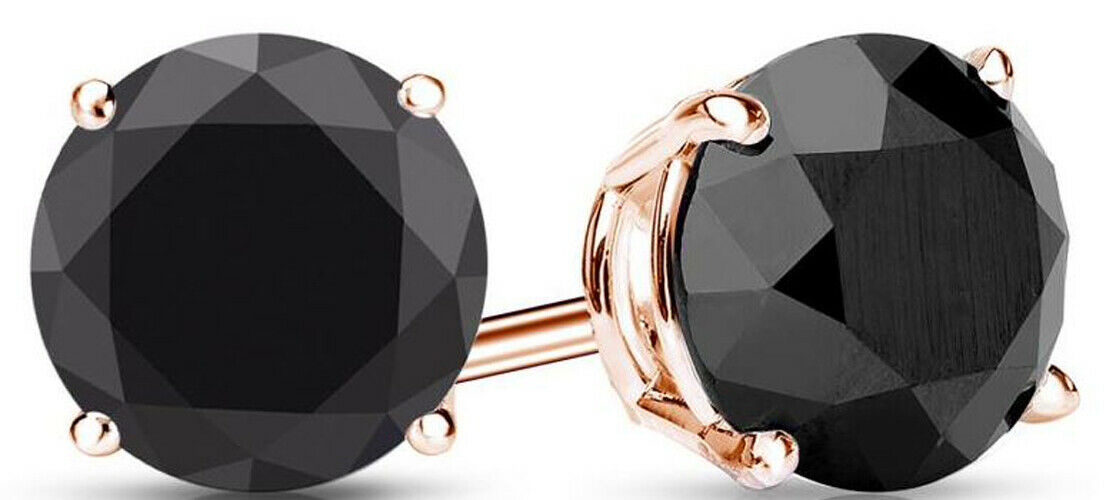 2.00 Ct. black Diamond Earstuds - 14K rose gold