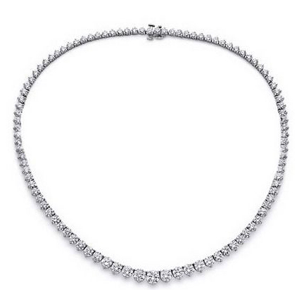 Diamond Necklace - 7.00 Carat Diamonds VS2-SI1 - 14K White Gold