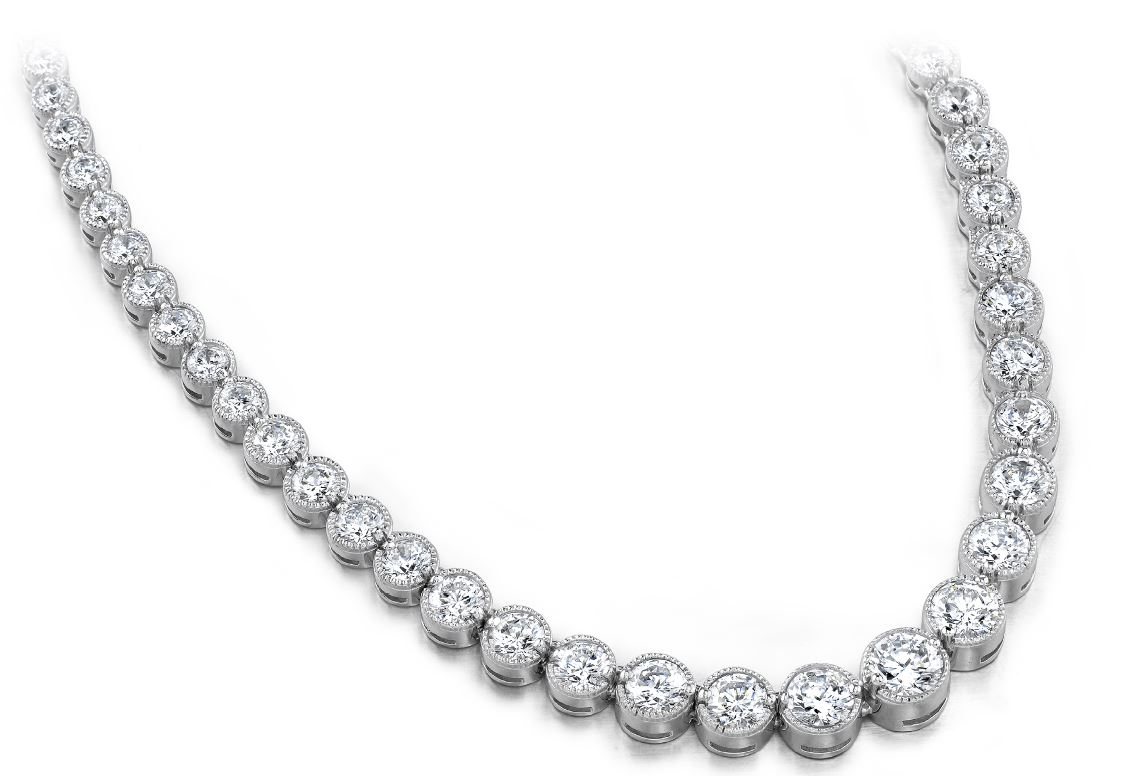 Diamond Necklace - 9.00 Carat Diamonds 14K White Gold