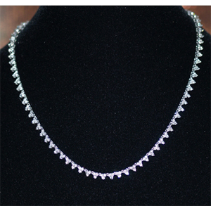 Diamond Necklace - 7.00 Carat Diamonds - 14K White Gold
